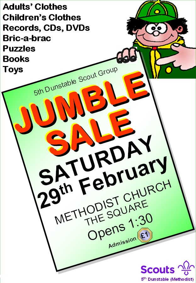 Jumble Sale in Dunstable with all sorts of bargains, 23rd February 2019, in aid of the Scout Group