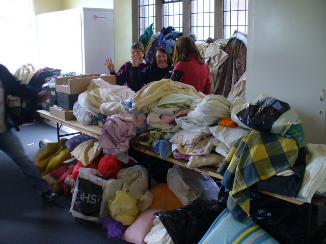 The Linens section of the Jumble Sale, including curtains, bedclothes, tablecloths, cushions