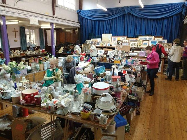 The centre of the main Jumble Sale room, with tables full of housewares